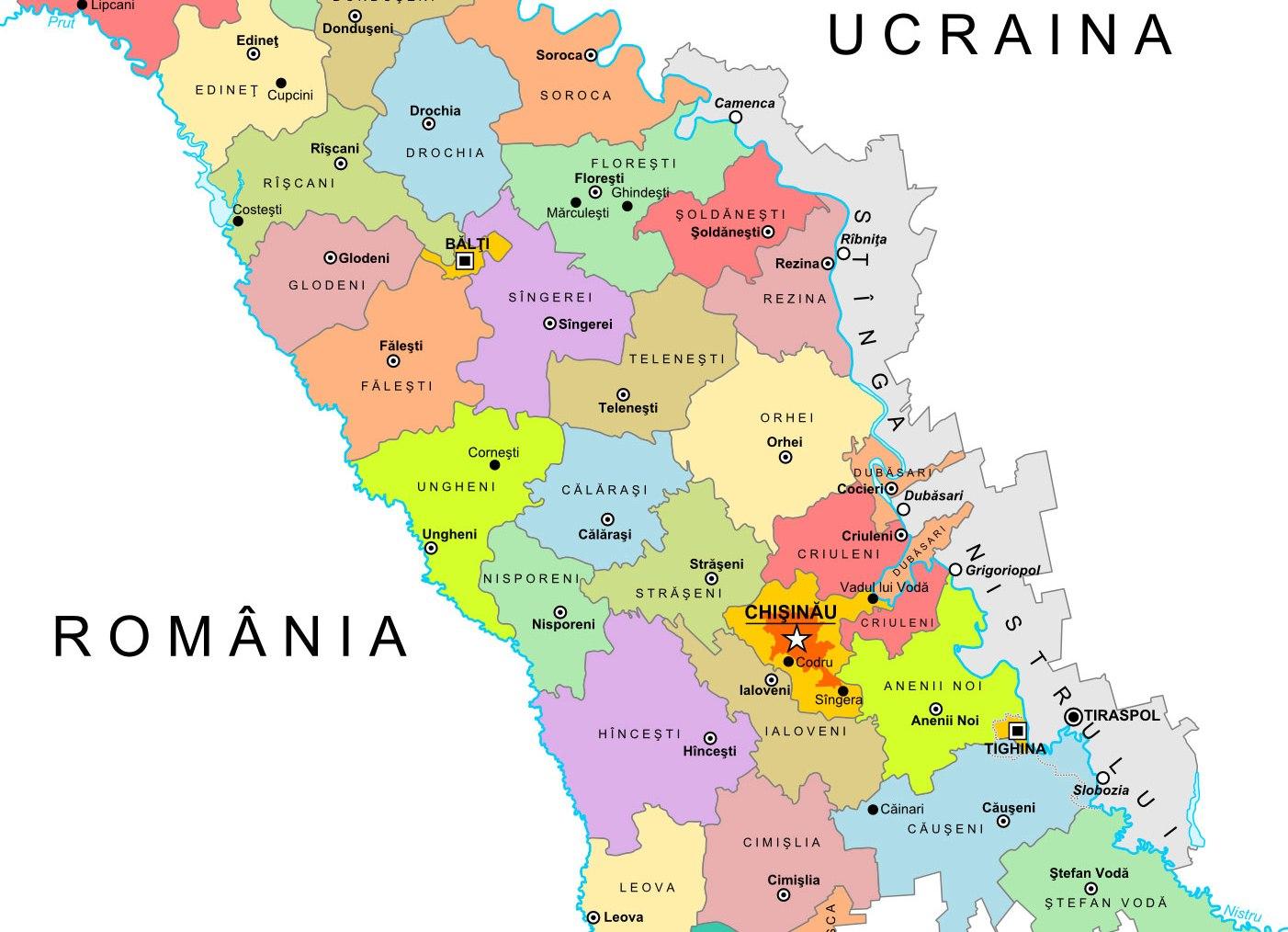 Harta Politica Raioane Republica Moldova Moldova Org